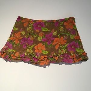 Blue Plate Ruffled Skirt SIZE L Tropical Flowers